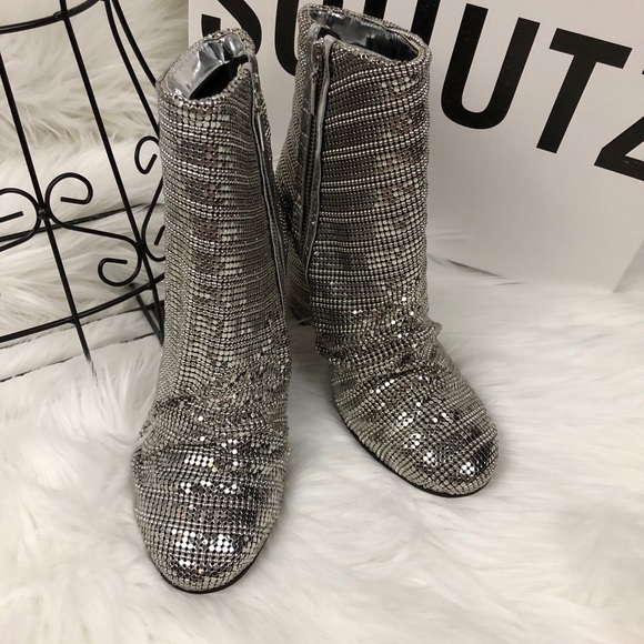f797b8b9401 Schutz Taise Ruched Metallic Booties